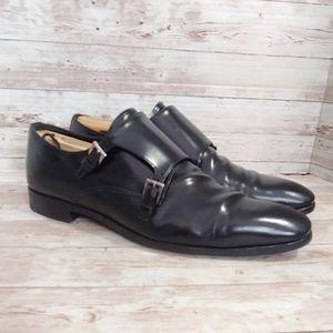 Prada Men's double monk black dress shoes